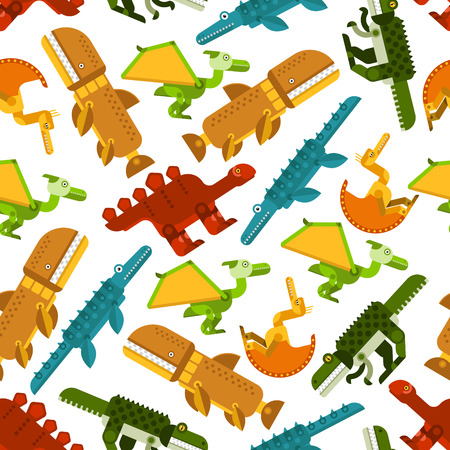 tyrannosaurs: Colorful pattern of seamless dinosaurs and prehistoric animals with herbivores stegosaurs and carnivorous pterodactyls, tyrannosaurs, pliosaurs and liopleurodons on white background. Use as wildlife evolution theme or children wallpaper design