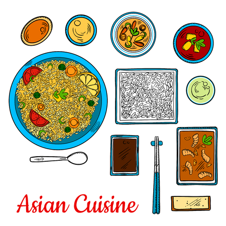 stir: Colorful dinner of traditional asian cuisine with sticky rice, shrimps stir fry and fry rice with vegetables and spring onion, supplemented with bowls of various dipping sauces and cup of green tea. Sketch style
