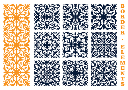 lace edges: Ornamental floral design elements for border, frame or page decoration design usage with openwork flourish motif of flowers and leafy branches