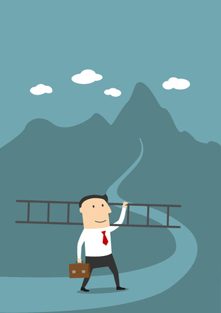 conquer: Career ladder, peak of career, top of success concept design. Cartoon businessman with ladder going to conquer summit of his career Illustration