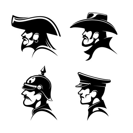captain cap: Black profiles of brutal cowboy in leather hat, bearded pirate with earring and captain hat, brave general of prussian army in spiked helmet and german soldier in peaked cap. Great for mascot or war history, adventure symbol design