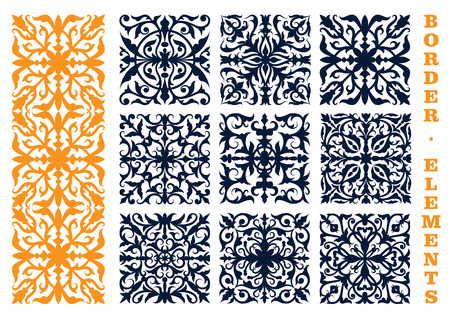 floral elements: Ornamental floral design elements for border, frame or page decoration design usage with openwork flourish motif of flowers and leafy branches