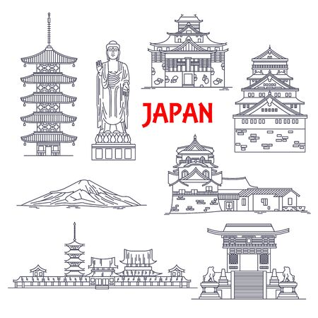 Architecture, religion and nature travel landmarks of Japan icon with mount Fuji, Ushiku Great Buddha, pagoda of Horyuji temple, imperial palace, Osaka castle, Kiyomizu-dera temple, Matsue castle and Toji temple. Thin line style