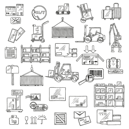 parcels: Delivery logistics sketch symbols of forklift and hand trucks, warehouse scales, conveyor and racks with cardboard boxes and packages, parcels, letters and baggages, barcode, packaging signs, mailbox