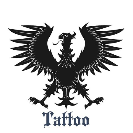 heraldic eagle: Heraldic eagle symbol for tattoo or coat of arms design usage with black bird in classic position with outstretched wings and legs, adorned by curved pointed feathers Stock Photo