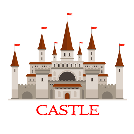 turrets: Medieval castle or fortress icon with red flags on conical turrets, arched windows and entrance, strong walls with flanking towers and wooden gate. Use as history or architecture theme design