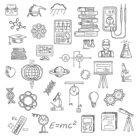 molecule icon: Physics, chemistry and astronomy sketch icons for education and science design with microscopes, laboratory flasks, books, models of DNA, atom, molecule and earth magnetic field, scientist, electrical measuring tools, computer, planets, telescope, graduat Stock Photo