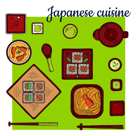 wasabi: Popular oriental seafood dishes of japanese cuisine colorful sketch icon with noodles topped with spicy prawn, assortment of sushi rolls filled with salmon, avocado and caviar, shrimp curry soup, wasabi and soy sauces, tea set and chopsticks Stock Photo
