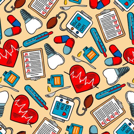 medical drawing: Colorful medical background for hospital or health care theme design usage with medicine bottles, hearts with pulse, pills, thermometers, blood pressure monitors,tooth implants and clipboards Stock Photo
