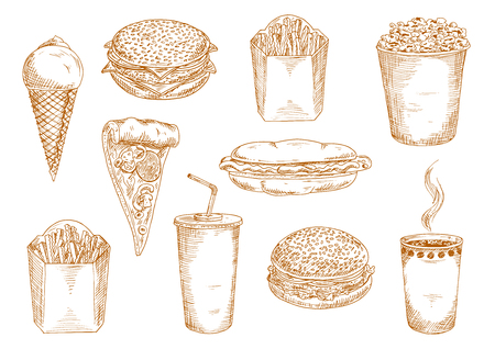 Takeaway paper cups of hot coffee and sweet soda, pepperoni pizza with mushrooms, hamburger, cheeseburger and hot dog sandwiches, boxes of french fries, ice cream cone and popcorn sketch symbols. Fast food menu design usage