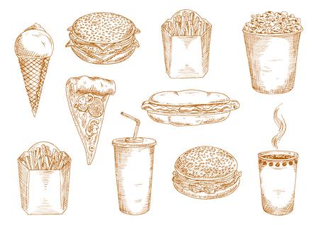 vasos de papel para llevar de café caliente y refresco dulce, pizza de pepperoni con setas, hamburguesa, hamburguesa con queso y sándwiches de perros calientes, cajas de papas fritas, helado y símbolos de boceto palomitas de maíz. La comida rápida el uso del diseño de menú
