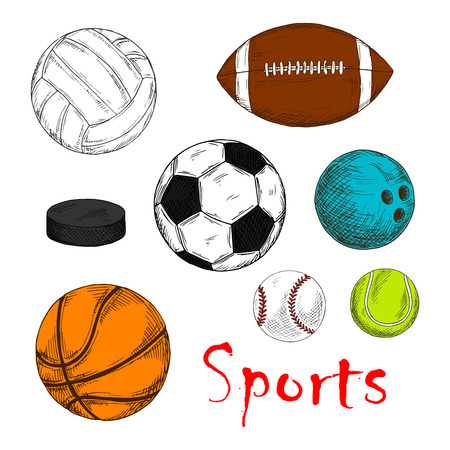 sporting: Colored sketch of sporting items for team games with ice hockey pucks and balls for soccer or football, baseball, rugby, volleyball, basketball and bowling. May be use as sporting club mascot or competition design