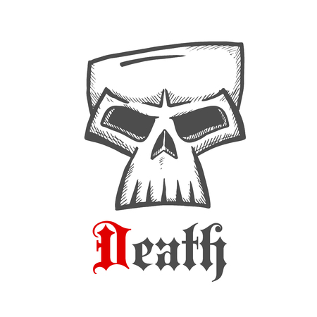 eye sockets: Face of a death symbol with dark grey sketch of sullen skull with ornamental gothic caption Death below. Great for Halloween mascot or t-shirt print design usage Illustration