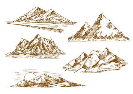 valley: Beautiful mountain landscapes engraving sketch icons with scenic sunset over hills, danger mountain road, mountain valley with flashy river and forest, snowy summits of rocky ridge. Nature and tourism theme design