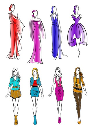 evening dresses: Elegant silhouettes of fashion models sketch icons with young women wearing colorful cocktail and evening dresses and modern casual outfits. Great for fashion and art theme design