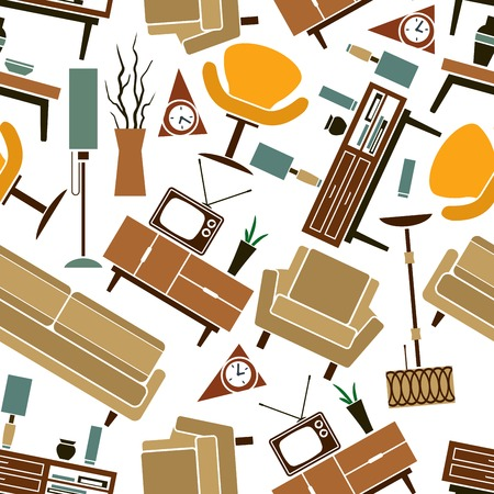 tv sets: Retro furnitures and interior accessories seamless pattern on white background with randomly scattered sofas, armchairs, chests of drawers, lamps, wall clocks, tv sets, books and vases. Use as wallpaper or scrapbook page backdrop design
