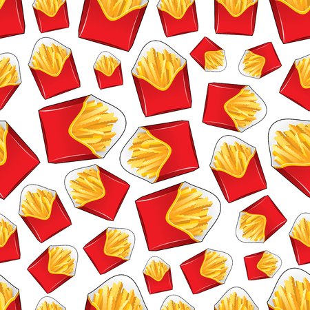 deep fried: Takeaway red paper boxes of french fries seamless pattern with crunchy wavy pieces of deep fried potato vegetables on white background. Fast food cafe menu or fabric design