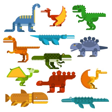 archaeological: Colorful cartoon dinosaurs with flat symbols of pterodactyls, tyrannosaurus rex, brontosaurus, velociraptor, stegosaurus and prehistoric aquatic reptiles. Great for dino mascot, t-shirt print or children book design