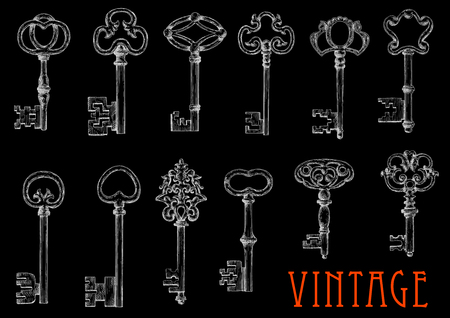 embellishment: Vintage chalk sketches of ancient keys on blackboard with decorative bows, adorned by openwork flourishes. Engraving drawings of medieval skeleton keys for embellishment or tattoo design