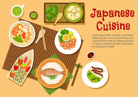 side dish: Japanese seafood dinner flat icon with variety of sushi with salmon, tuna, red caviar and sashimi with wasabi, noodle soup with shrimps and crab sticks, squid salad, rice with fish and blood sausages, spicy prawns, side dishes of marinated vegetables and