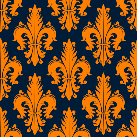 adorned: Orange heraldic fleur-de-lis seamless pattern over navy background with stylized fluffy leaves, adorned by curly swirls. Heraldry, history theme or textile print design Illustration