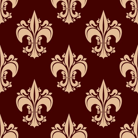 fleurdelis: French royal ornamental fleur-de-lis seamless pattern for vintage interior design or historical concept with beige victorian lily flowers on brown background Illustration