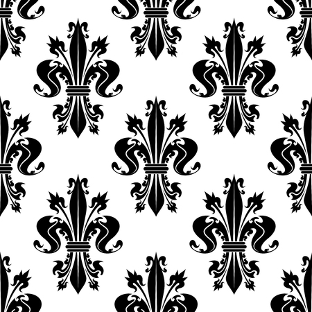 monarchy: Seamless decorative black fleur-de-lis pattern over white background with curly spiky floral compositions of royal lilies. French heraldic backdrop, history, monarchy concept design