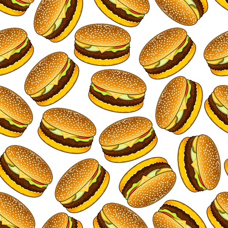 sesame seeds: Seamless homemade hamburgers on bread rolls with sesame seeds pattern on white background garnished with beef patty, cheese, fresh tomato, onion and pickled cucumber relishes. Fast food sandwiches backdrop for cafe menu or kitchen interior design Illustration