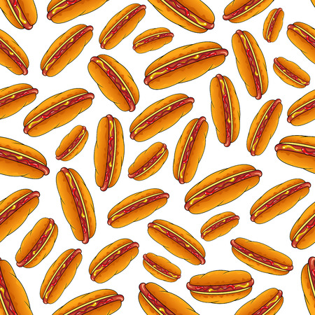 seasoned: Appetizing hot dog sandwiches seamless pattern on white background with smoked frankfurters seasoned with mustard and ketchup in fresh wheat buns. Use as fast food backdrop, takeaway menu fly leaf design Illustration