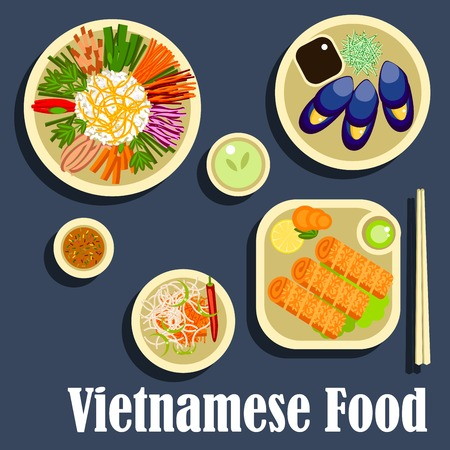salad dressing: Vietnamese dinner icon with traditional dishes in flat style including sticky rice with assortment of fresh vegetables, grilled blue clams with fish sauce, spicy carrot salad, fried spring rolls with green chilli dressing Illustration