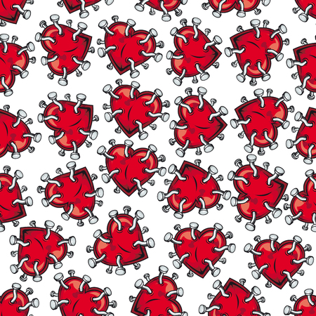 nailed: Broken heart and feelings seamless pattern with bright red nailed hearts over white background. May be used as Valentine day card, romantic backdrop and love theme design