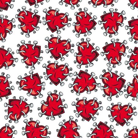clavados: dibujo del corazón y sentimientos rotos sin fisuras con corazones brillantes clavados de color rojo sobre fondo blanco. Se puede utilizar como tarjeta del día de San Valentín, romántico telón de fondo y el diseño del tema del amor Vectores