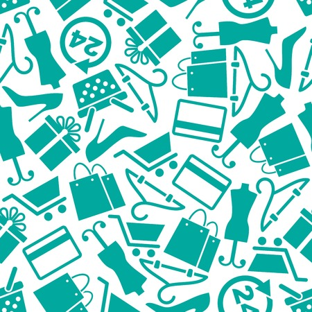 Shopping and fashion seamless background pattern with turquoise silhouettes of shopping carts and baskets, paper bags, bank credit cards, gift boxes, elegant shoes, mannequins, hangers and 24 hours service signs. Retail business, shopping, sale concept de