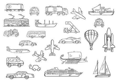 Cars, bus, taxi, ambulance, airplanes, electric train, fishing boat, yacht, tank car and truck, space shuttle, cruise liner, baggage truck and passenger stairs, hot air balloon, ancient galley sketch icons. Transportation theme design Illustration