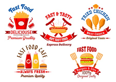 french cafe: Fast food cafe and grill restaurant icons with bright cartoon burgers, takeaway french fries with sauce cups, grilled hot dog and fried chicken legs with ketchup and mustard squeeze bottles, framed by ribbon banners, spatulas, chef hat and headers