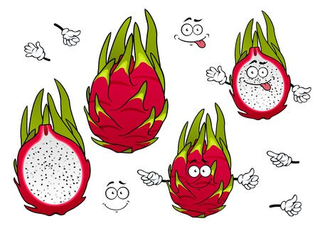 halved: Whole and halved exotic pitaya fruits cartoon characters with vivid magenta peel, covered green spiky leaves with joyful smiling faces. Tropical cocktail menu, agriculture, vegetarian recipe design usage
