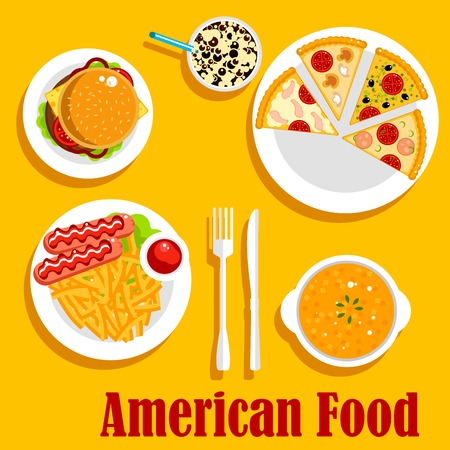 vegetarian cuisine: Popular dishes of american cuisine for lunch menu flat icon with cheeseburger, french fries, served with sausages and ketchup, creamy pumpkin soup, pepperoni, seafood and vegetarian pizzas, iced latte topped with whipped cream and chocolate syrup