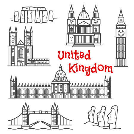 windsor: British and chilean architecture landmarks and historical attractions isolated sketch icons with Big Ben, Tower Bridge, Stonehenge, moai stone figures, Windsor castle, St. Paul cathedral and Westminster palace