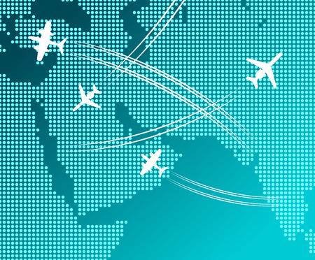 passenger transportation: Passenger and cargo airplanes flying in blue sky with white flight tracks over abstract map. May be use as travel by plane concept, business trip or transportation service design Illustration