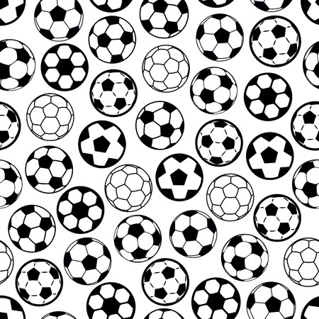 sporting: Seamless soccer game pattern with black and white sporting background, composed of football or soccer balls. Wallpaper or scrapbook page backdrop design
