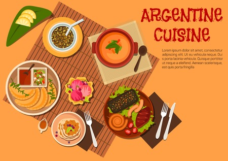 mate: Argentine asado dishes icon with grilled beef steak, sausages and liver, empanadas with ketchup and marinated vegetables dressing, lentil soup and mate served with fresh fruits, pancakes topped with dulce de leche, fruity sundae ice cream. Flat style