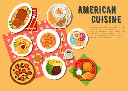 vegetarian cuisine: Picnic menu of american cuisine icon with cheeseburger, hot sandwiches, served with french fries and sauces, vegetarian pizza, seafood rice with chorizo, grilled beef steak, clams, corn on the cob and green beans, meat loaf with vegetable stew, donuts and