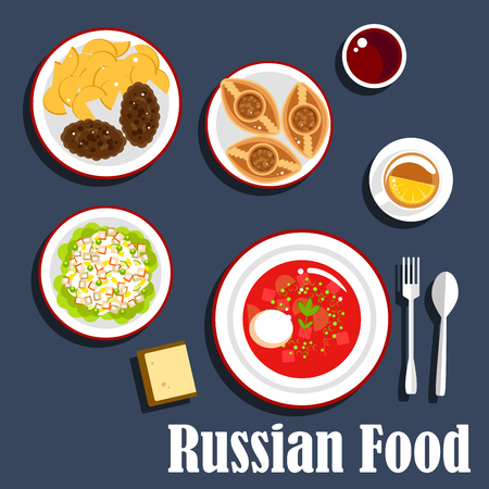 served: Typical russian dinner icon with flat symbols of borscht, with sour cream dressing, cutlets served with fried potatoes, potato salad olivier, baked meat pies piroshki and cup of tea with lemon