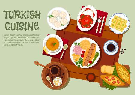 Nationale gerechten uit de Turkse keuken pictogram met traditionele Adana en Iskender kebab schotels met groenten, yoghurt en bulgur pilaf, pide taarten, linzensoep, dumplings met zure room, Turkse koffie met lokum, en walnoot baklava. vlakke stijl