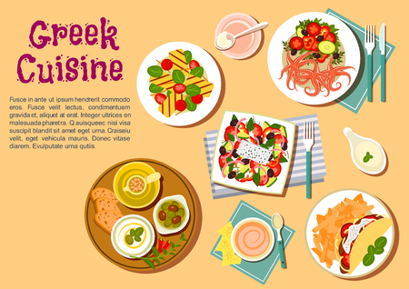 Popular greek dishes flat icon with souvlaki, served with french fries, greek salad with feta, fresh bread with marinated olives and tzatziki dip, spicy octopus with fresh vegetables, grilled feta with cherry tomatoes Ilustracja