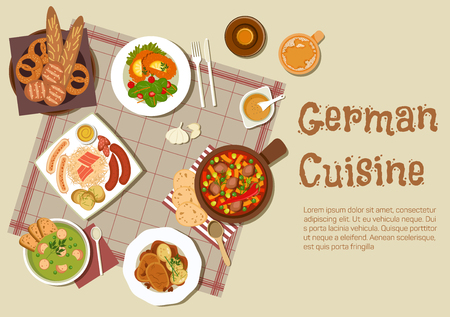 fresh vegetable: Authentic german cuisine flat icon with mixed grilled sausages platter, served with sauerkraut, pork stew, pea soup, pot roast, sandwiches with fresh vegetable salad, beer and basket of traditional bread rolls and pretzels