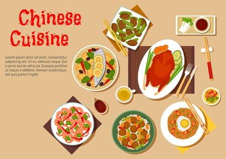 fried noodles: Chinese peking duck flat icon served with soybean noodles, topped with egg, rice with fried tofu and peanuts, spicy prawns, steamed fish with lemon and vegetables, fried pork with green beans and variety of sauces