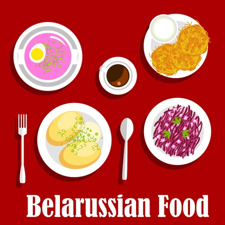 sour: Vegetarian dinner with national belarusian dishes icon with flat symbols of potato pancakes draniki, served with sour cream, cold beet soup with hard boiled egg, potato with butter sauce, red cabbage and apple salad, cup of coffee