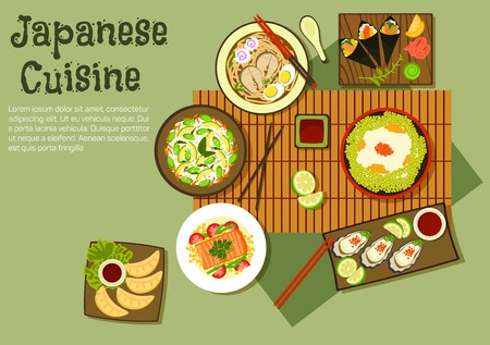 rice and beans: Refreshing oriental dishes of japanese cuisine icon with temaki sushi, edamame rice with beans and red caviar, udon soup, fried dumplings, avocado, green beans and rice salad, oysters, steamed salmon with vegetables, various of sauces and fruit relishes.  Illustration
