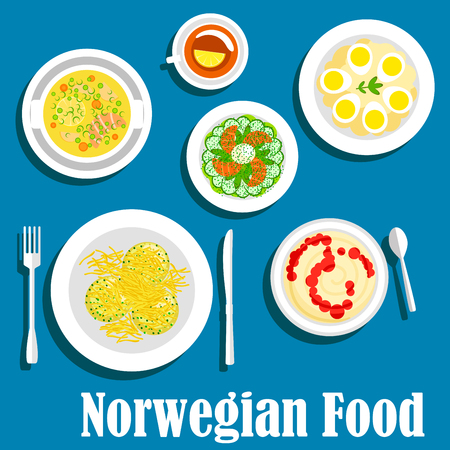 cucumber salad: Wholesome dishes of norwegian breakfast icon with flat symbols of rice porridge with fruit jam, cucumber salad with smoked salmon, fish soup, potato and egg salad, parsnip pancakes with cheese and cup of tea with lemon